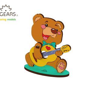 ursulet colorat ugears, ugearsm puzzle ugears, puzzle 3d mecanic ugears, puzzle copii colorat ugears, puzzle ugears