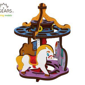carusel colorat ugears, carusel, carusel colorat, puzzle colorat, puzzle 3d mecanic ugears, ugears, puzzle, puzzle 3d