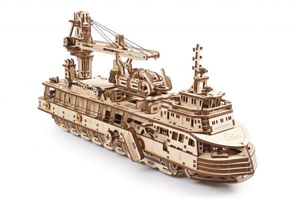 nava cercetare ugears, ugears, nava cercetare, puzzle nava cercetare, puzzle 3d ugears, ugearms, puzzle, puzzle 3d mecanic